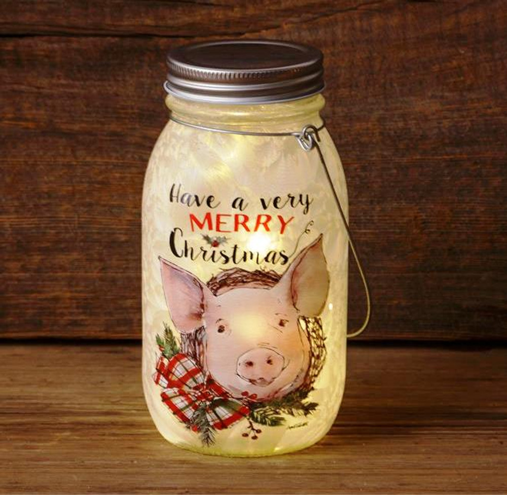 Farmhouse Christmas - Frosted Glass Mason Jar - Pig