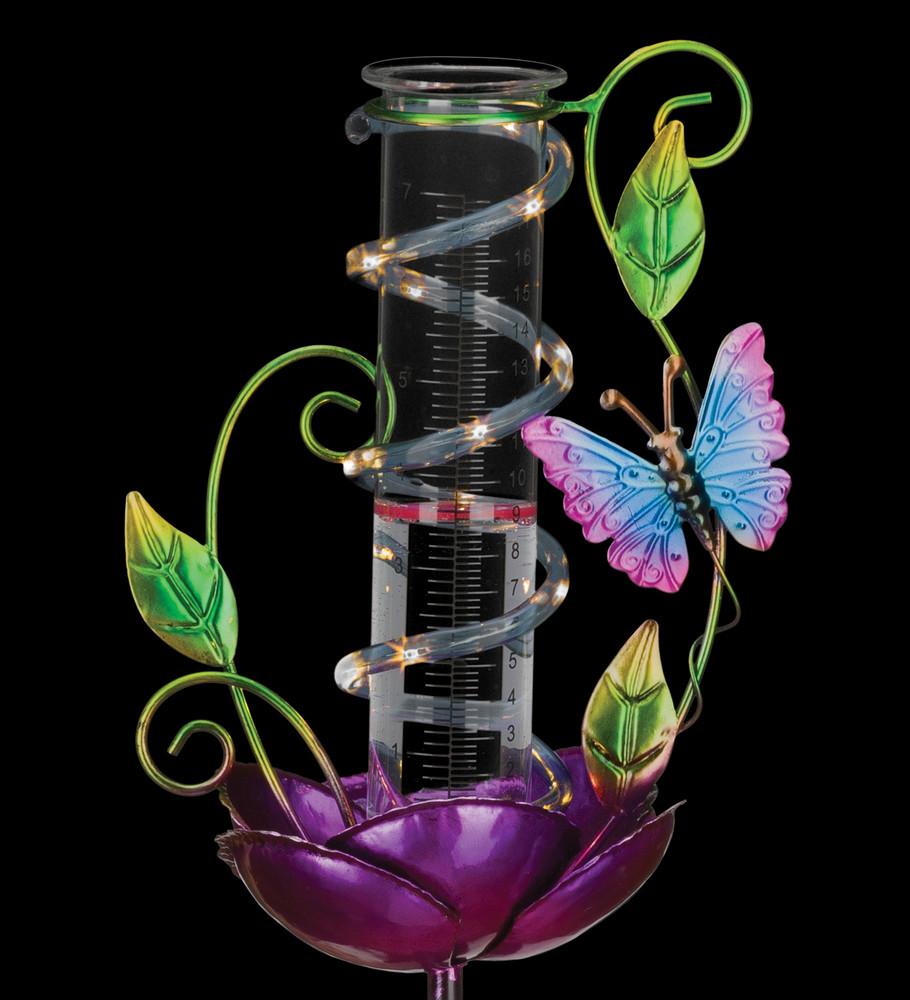 Rain Gauge Solar Stake - Butterfly