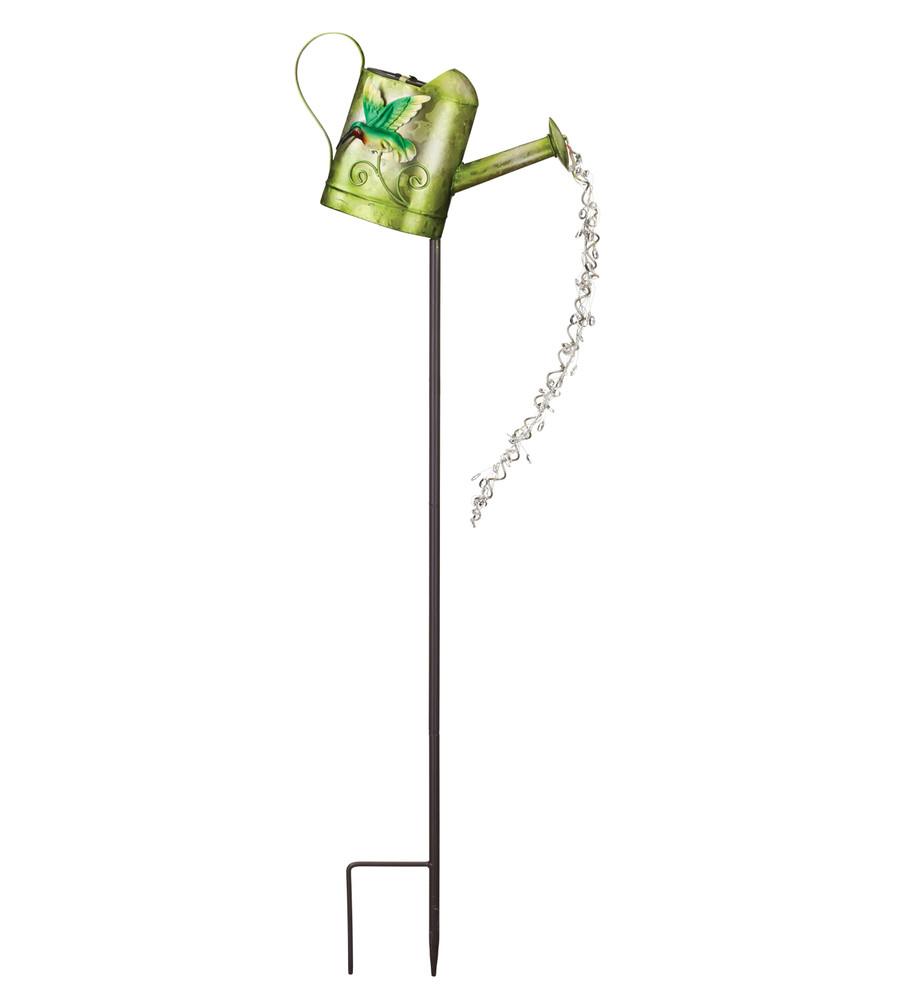 Watering Can Solar Stake - Hummingbird