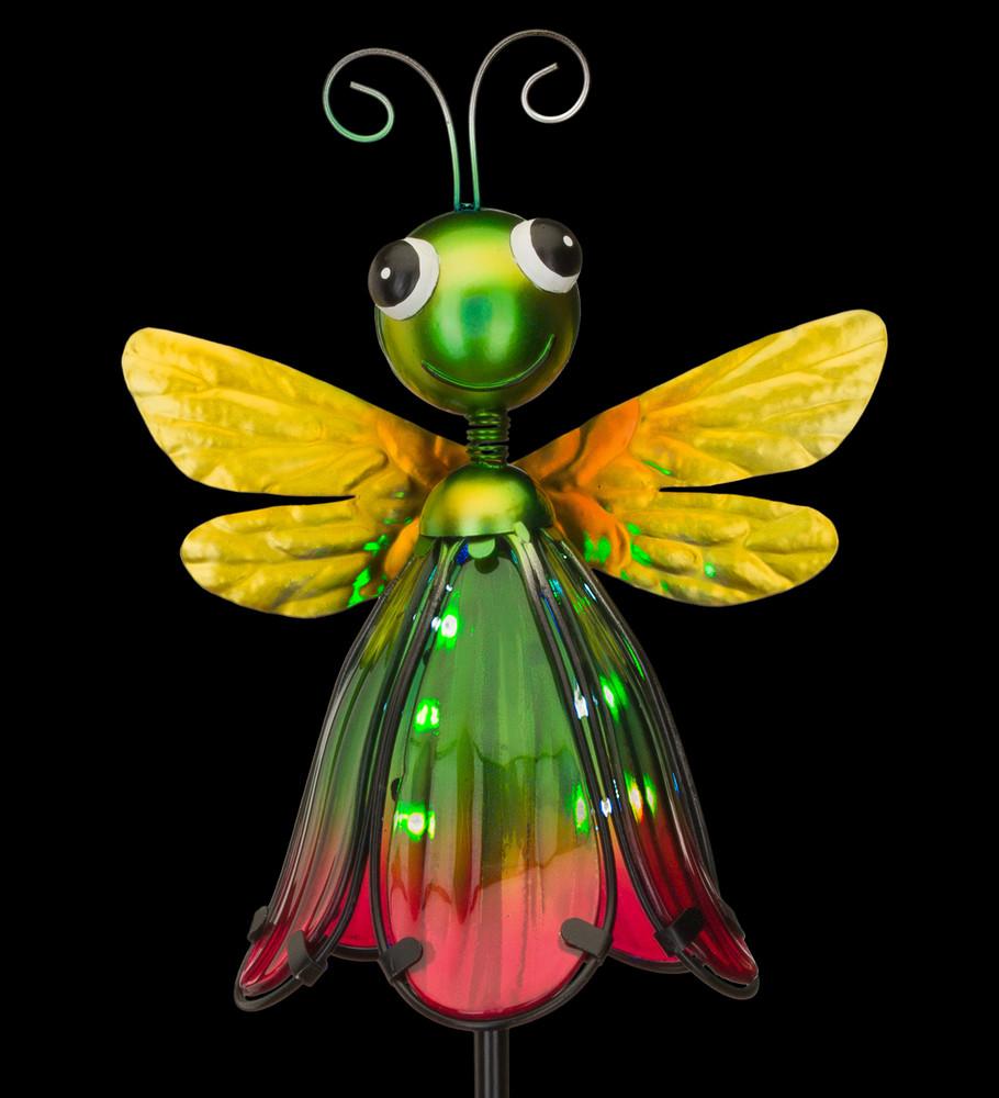 Flower Bug Solar Stake - Dragonfly Green