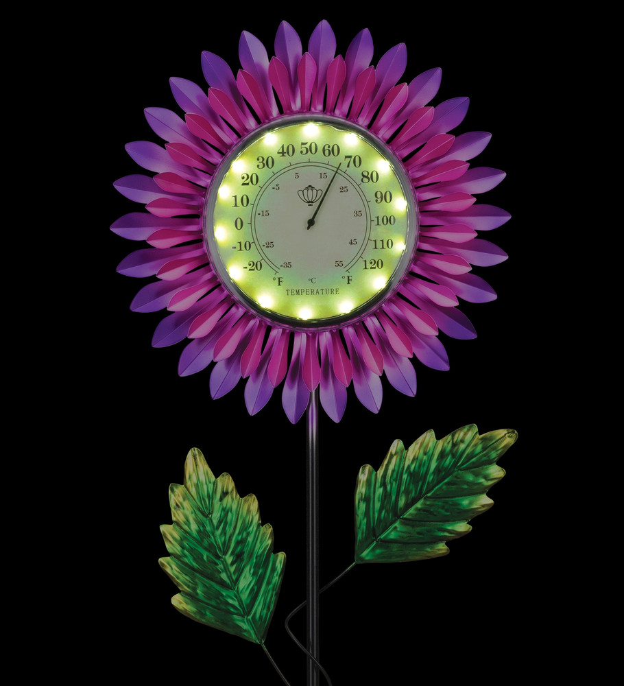 Thermometer Solar Stake - Pink Daisy