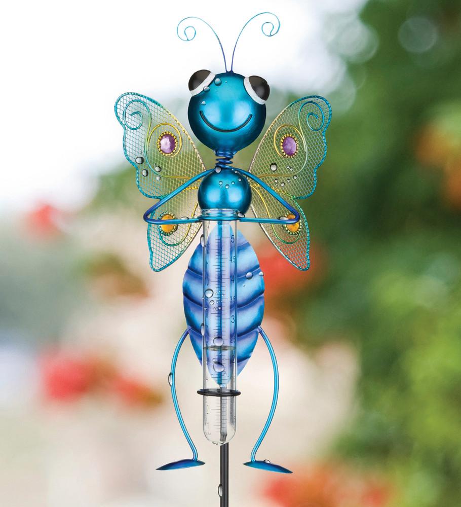 Bug Rain Gauge Stake - Butterfly Blue