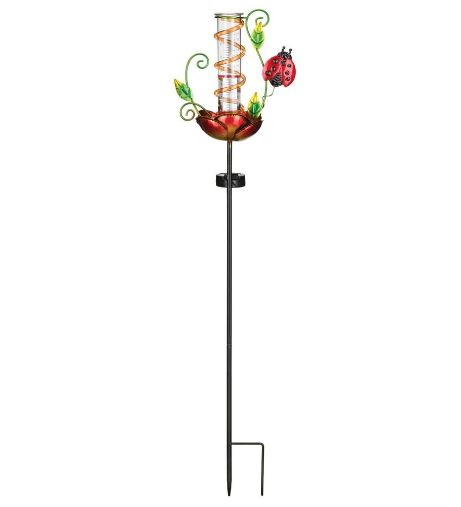 Rain Gauge Solar Stake - Ladybug