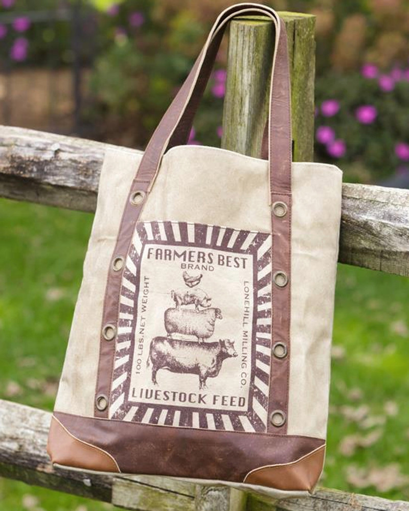 Vintage Feed Sack Canvas Tote Bag