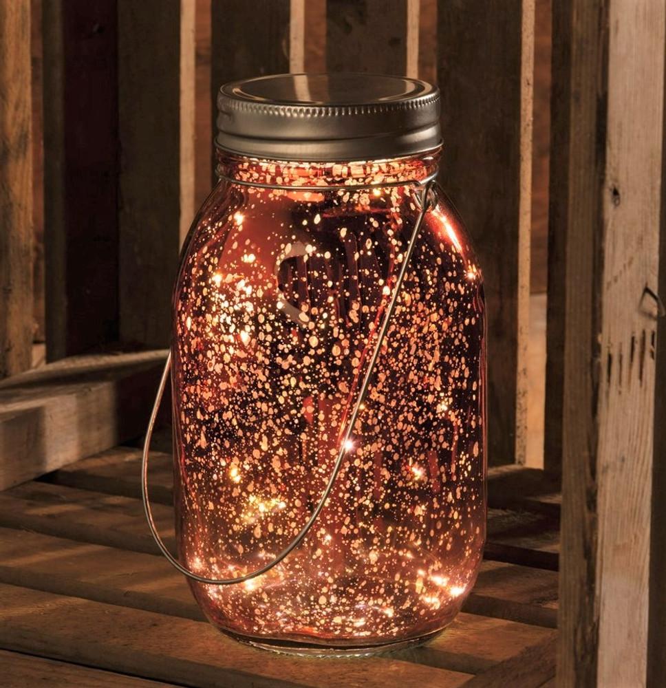 Lighted Pink Mercury Lantern