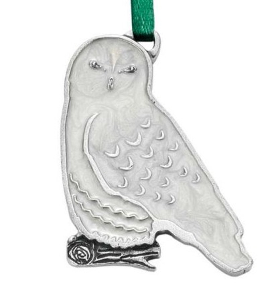 Snowy Owl Pewter Ornament