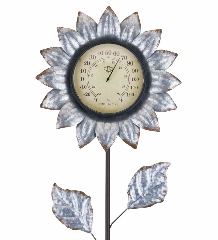 Flower Thermometer Stake - Galvanized
