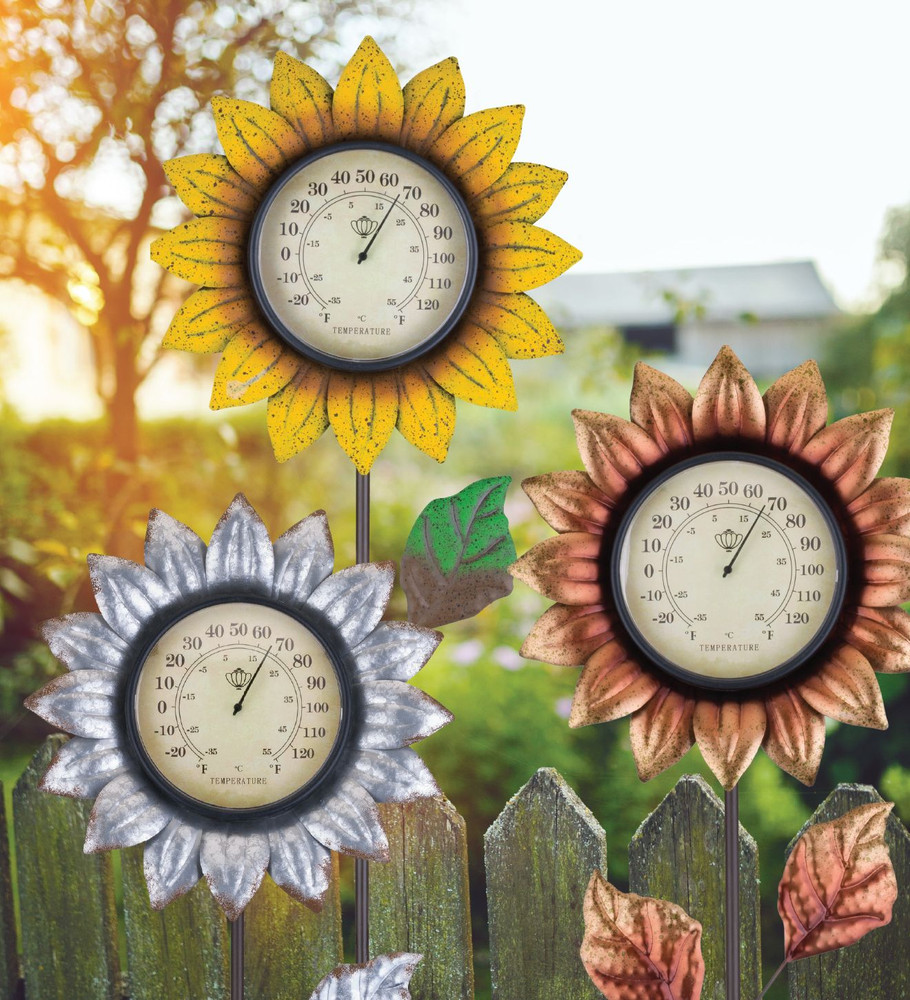 Flower Thermometer Stake - Copper