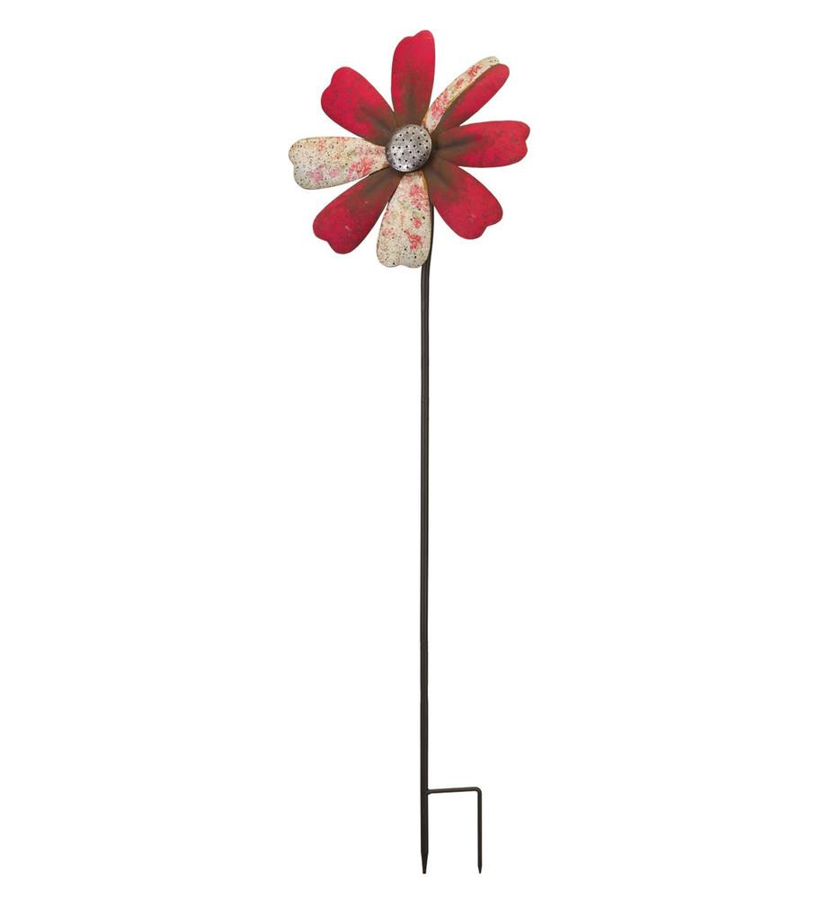 Rustic Flower Wind Spinner Stake- Red