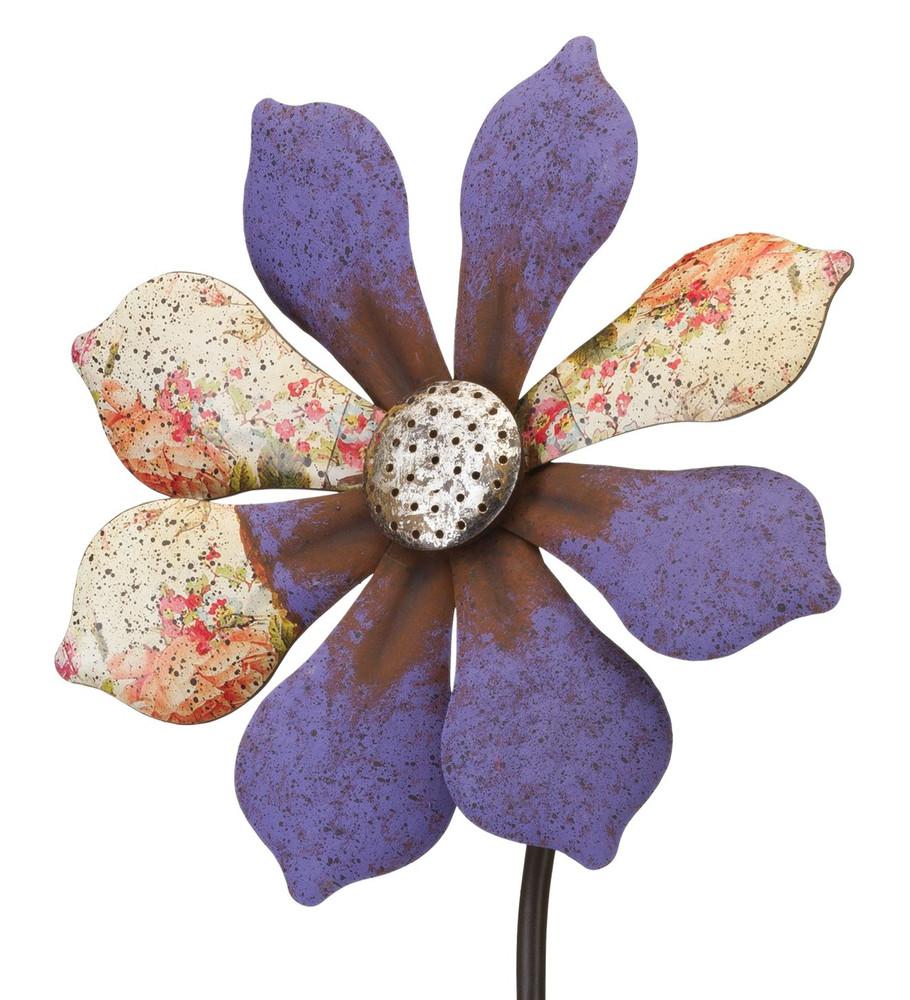Rustic Flower Wind Spinner Stake- Purple