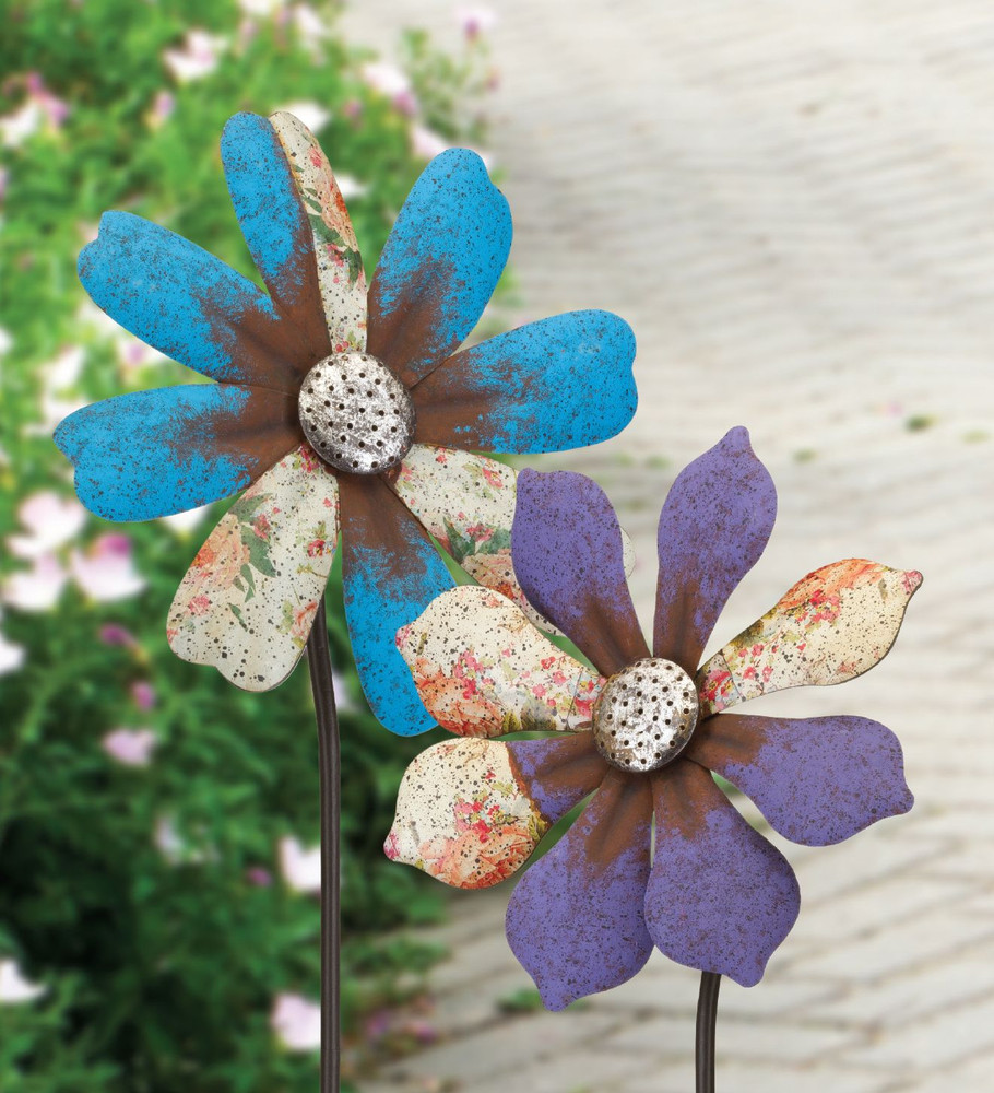 Rustic Flower Wind Spinner Stake- Purple