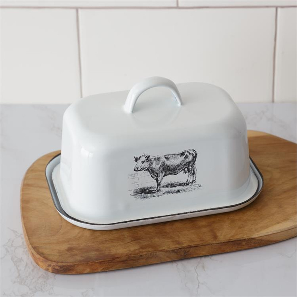 Butter dish with cow motif