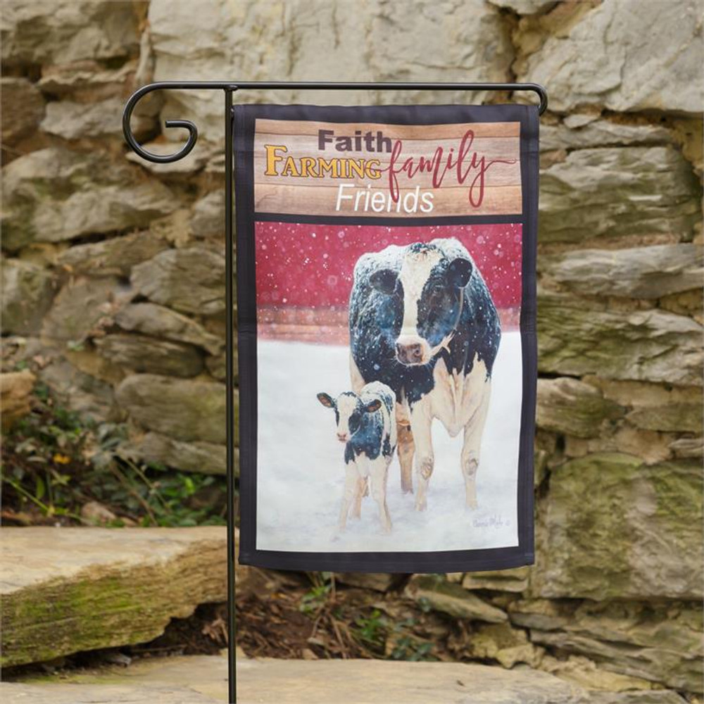 """Flag with cow motif and """"Faith, Farming, Family, Friends"""" insignia"""