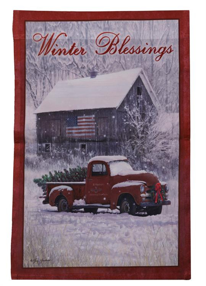 """Flag, decorated with winter scene and """"Winter Blessings"""" motif"""