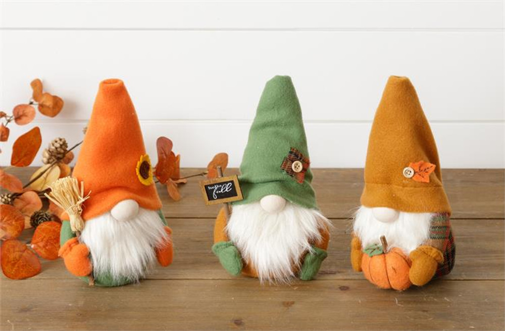 Set of 3 Gnome table sitters, decorated in fall colors
