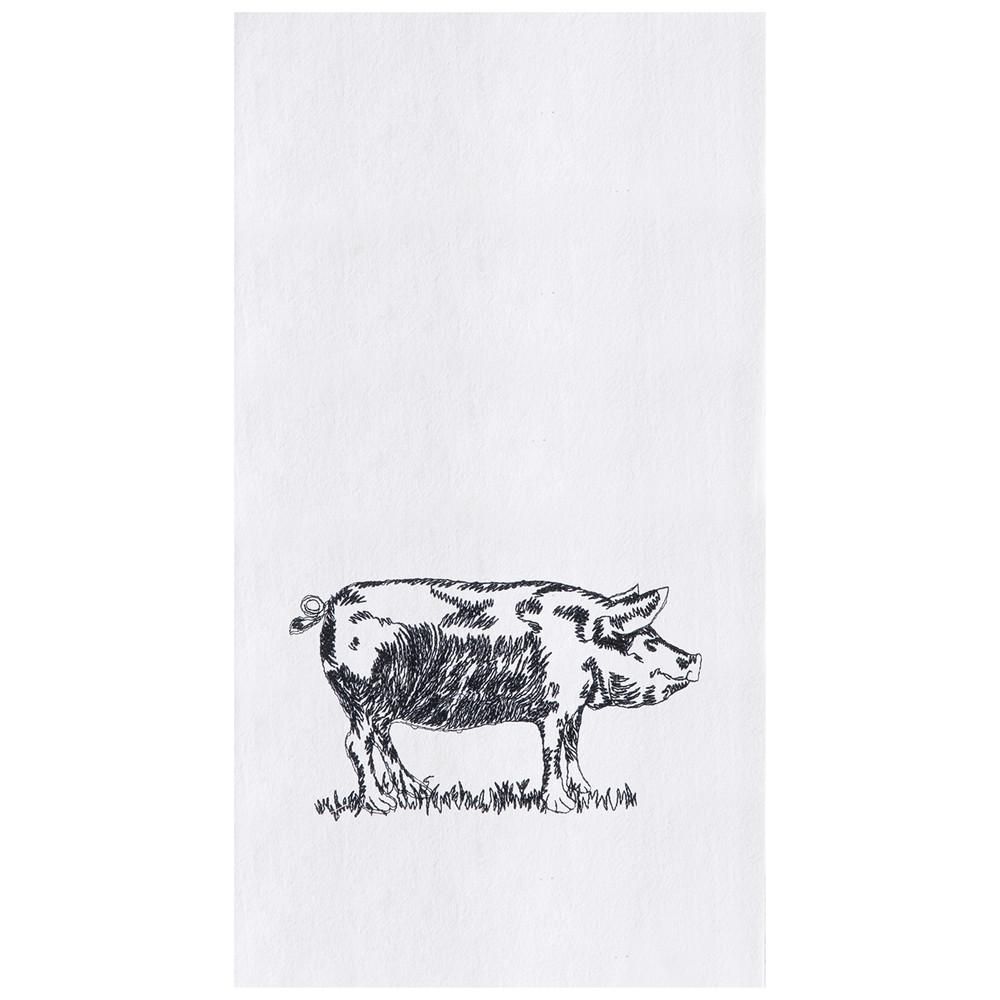Black sketched pig printed on white flower sack kitchen towel