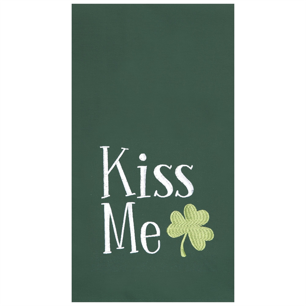 """Green flour sack kitchen towel, with """"Kiss Me"""" insignia with a shamrock"""