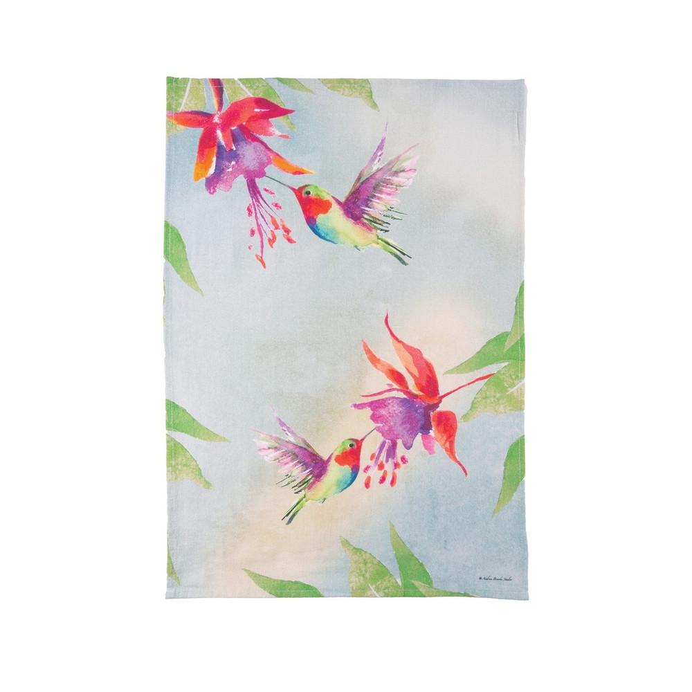 Flour sack kitchen towel, red hummingbird with watercolor splash
