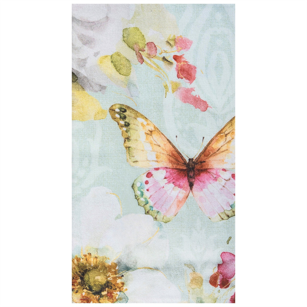 Flour sack kitchen towel, colorful butterfly watercolor splash