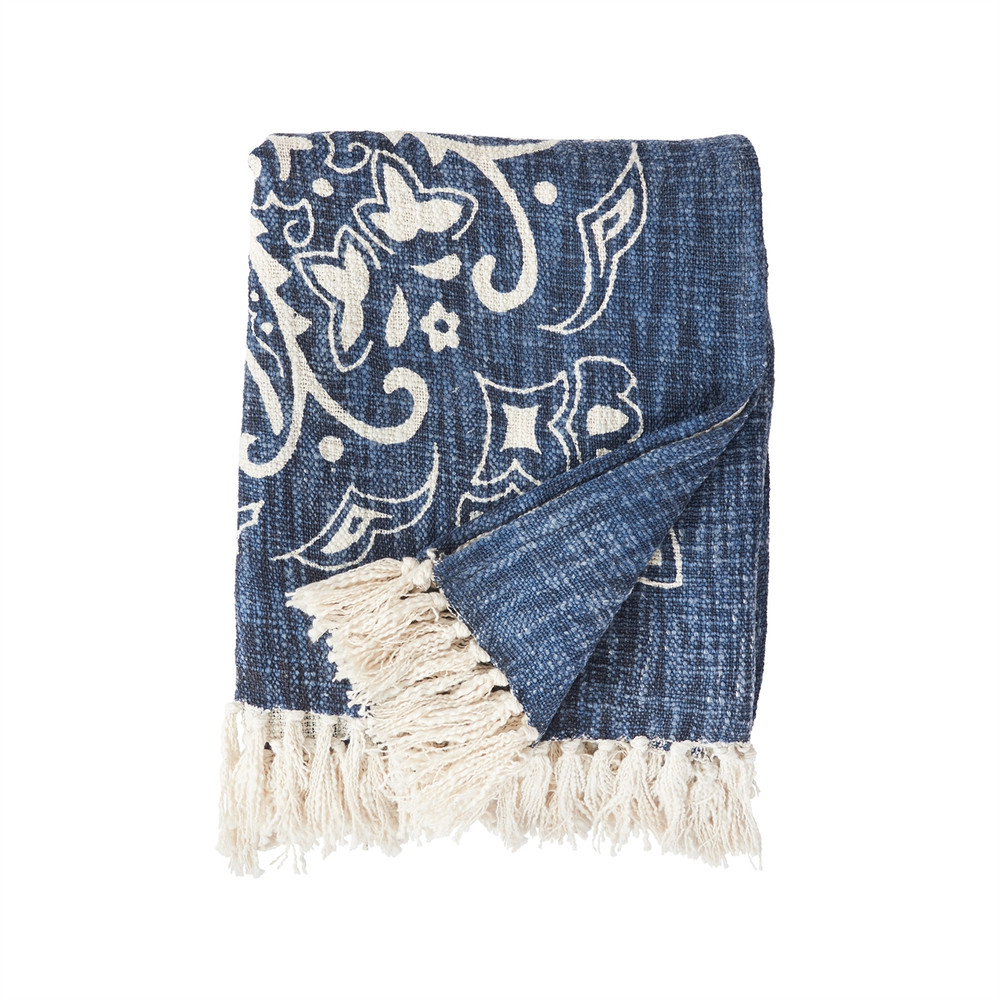 Woven blue, bandana print, throw