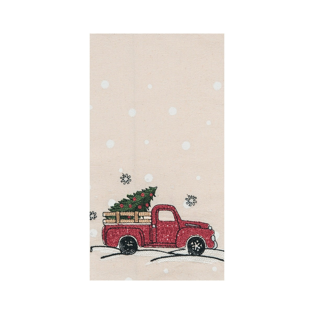 Dish towel embellished with a farm truck and Christmas tree