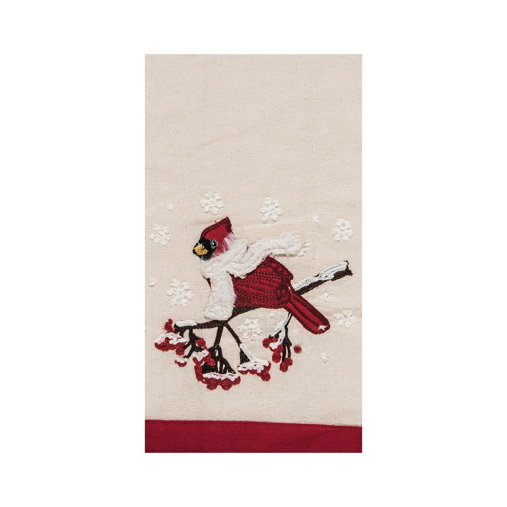 Kitchen towel with red cardinal wearing a scarf