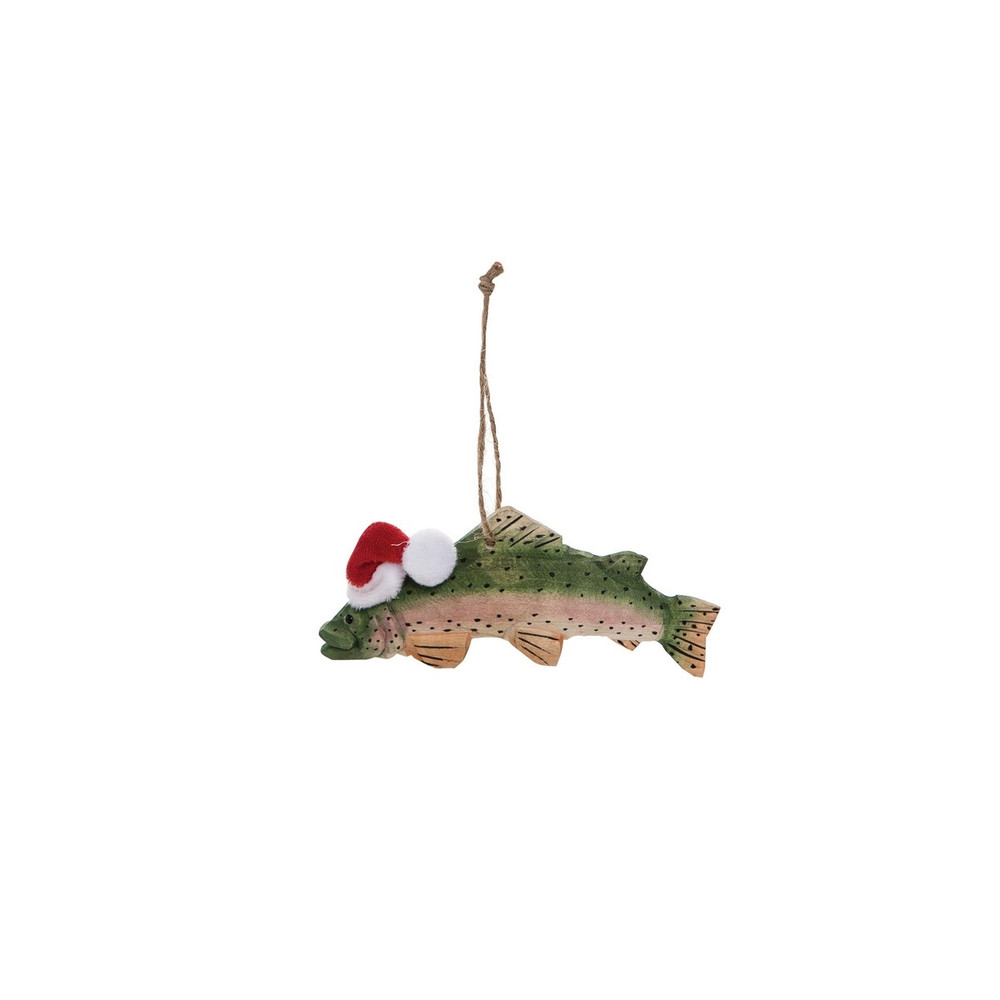 Carved wood trout Christmas tree ornament