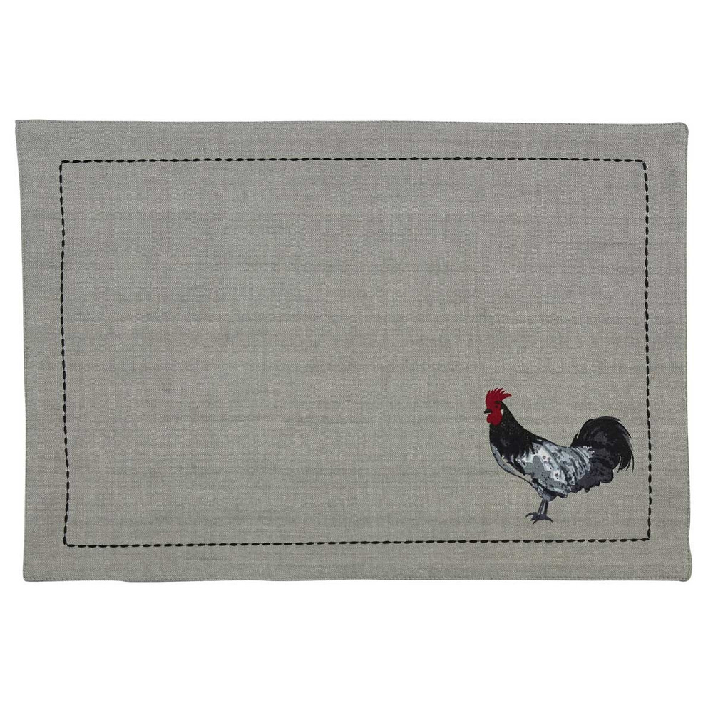 Cotton placemat with rooster pattern in bottom corner