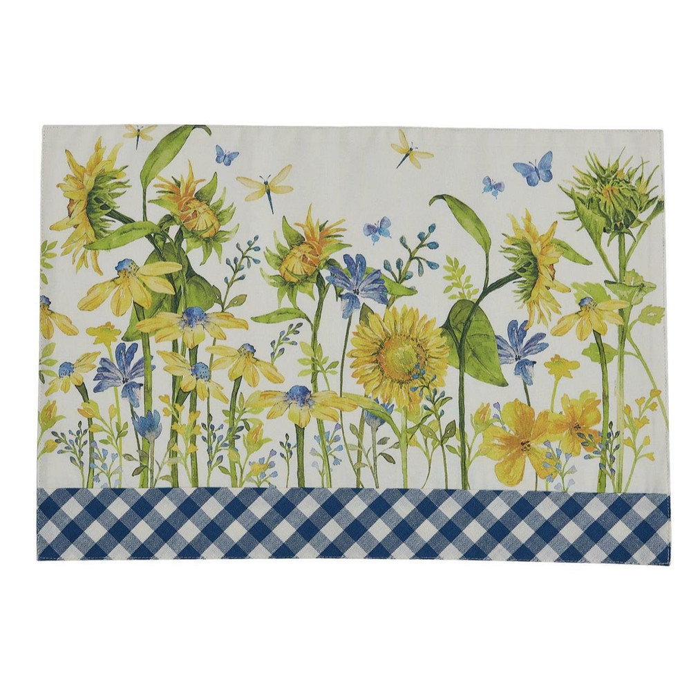 Cotton placemat with sunflower and blue patchwork print