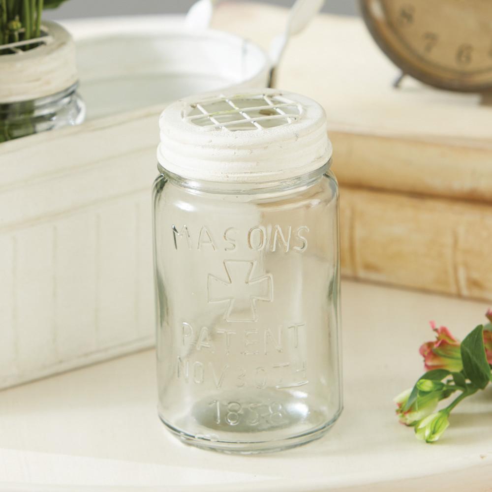 Mason Jar Vase with Galvanized Frog Lid