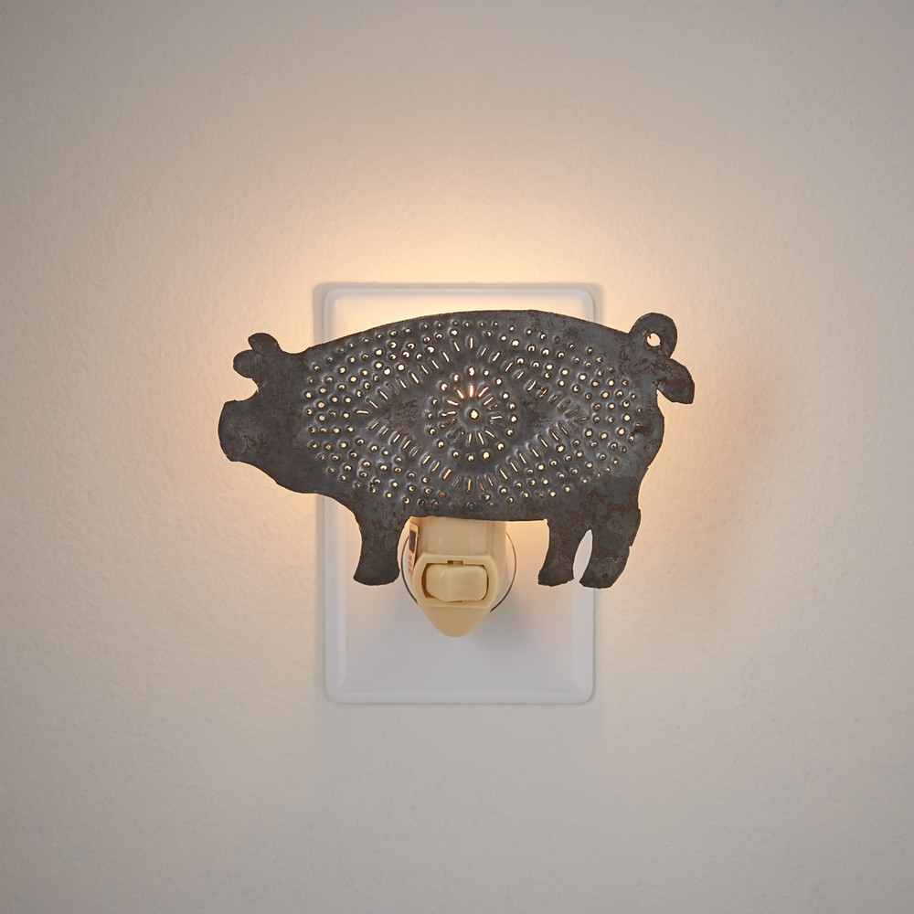 Punched tin, pig night light
