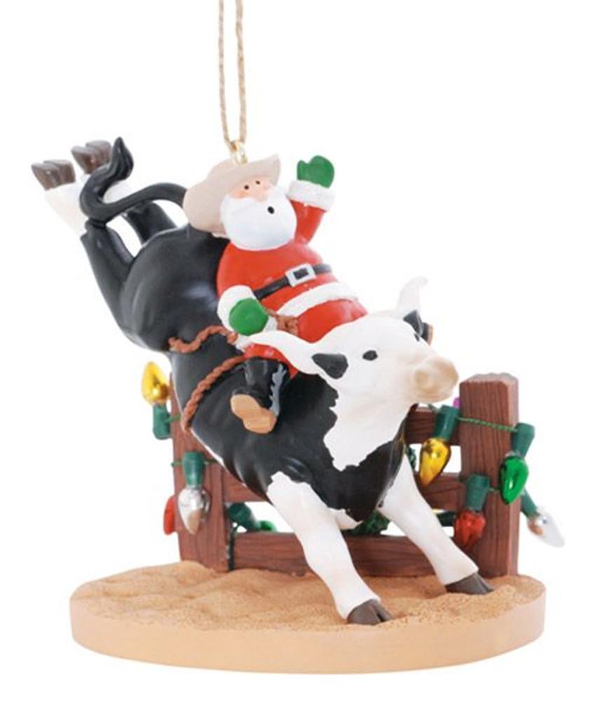 Christmas ornament, made of resin, Santa on Rodeo Bull