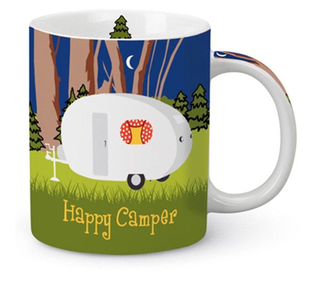 13 ounce coffee mug, Happy Camper motif and picture on mug
