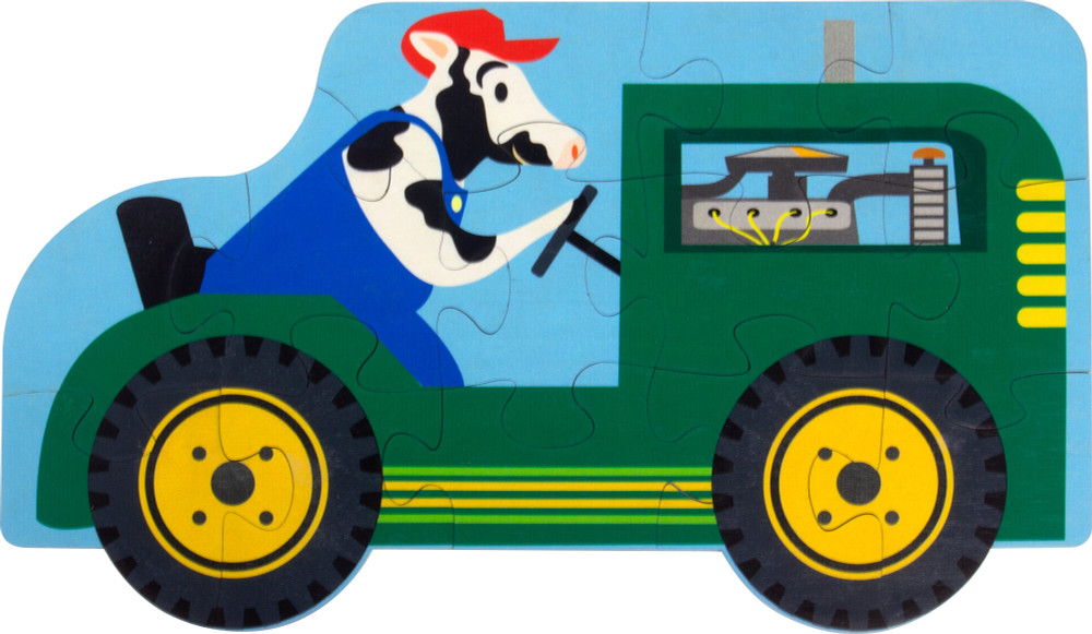 13 piece jigsaw puzzle, large interlocking pieces, recommended for kids over 3 years old, dog driving a farm tractor