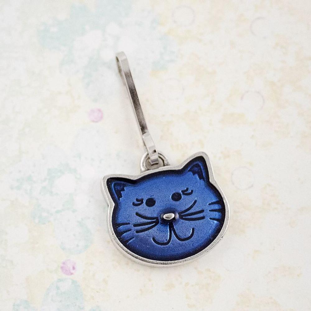 Danforth Pewter, kitty zipper pull, blue kitty face