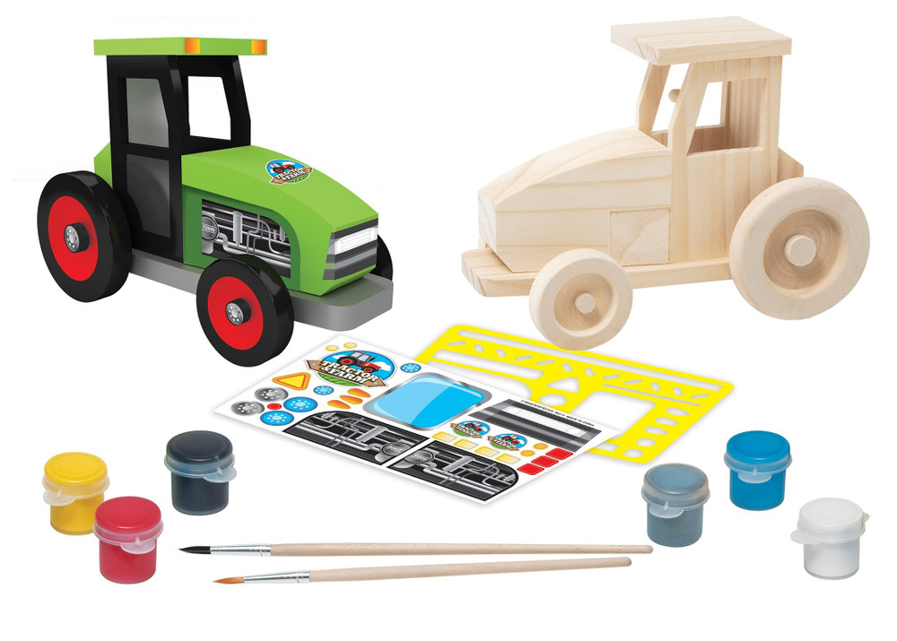 Layout of farm tractor with pieces included in kit