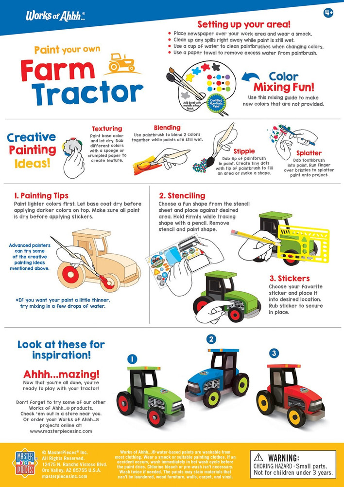 Instruction sheet for farm tractor paint kit