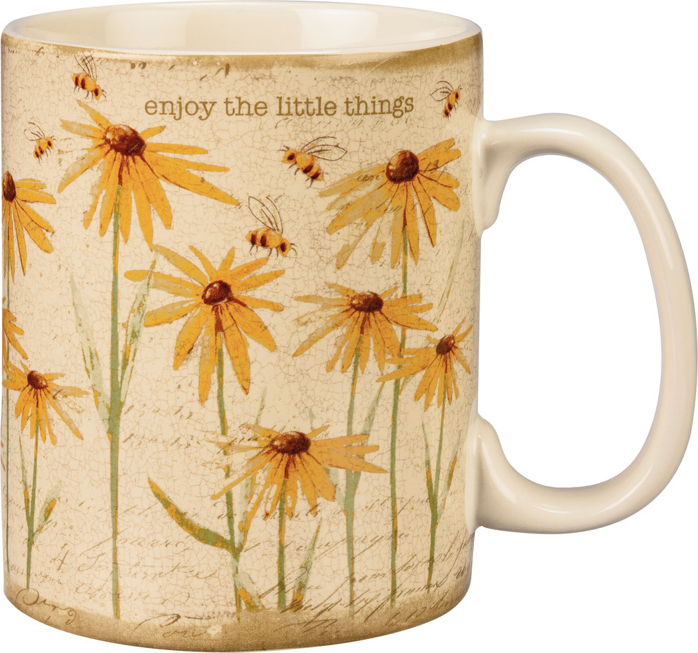 Stoneware coffee mug with bees and flowers, enjoy the little things written on it