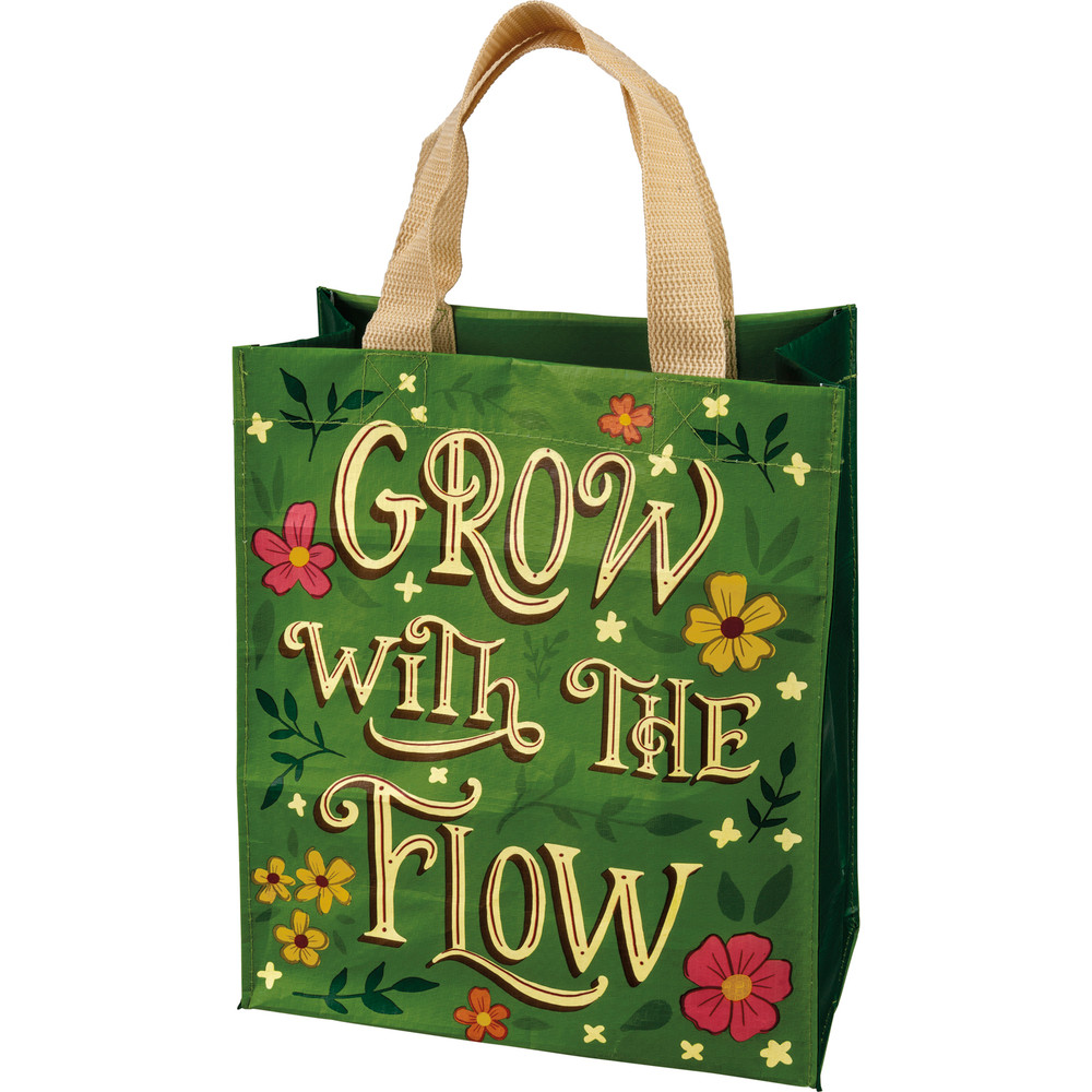 Reusable tote/grocery bag, grow with the flow written on bag, green with flower design
