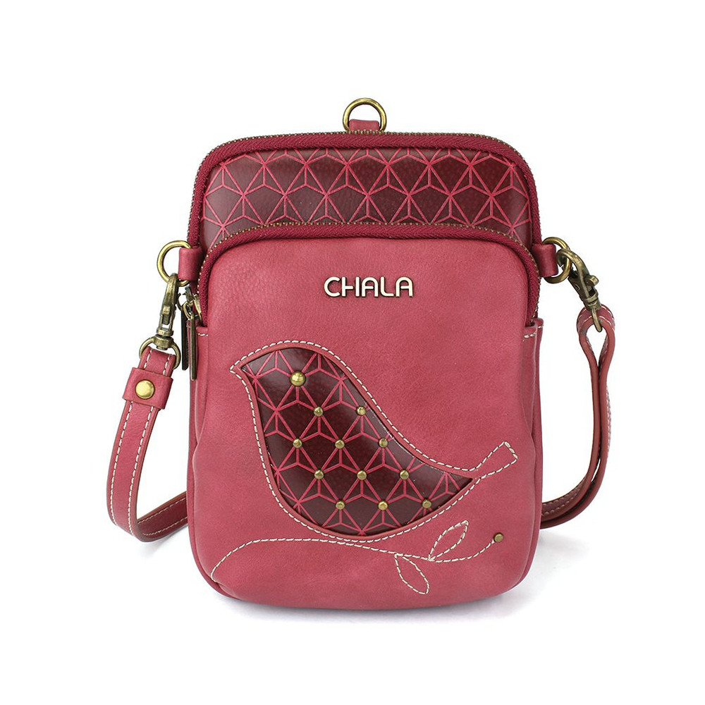 Cell Phone Xbody purse, bird - Berry color