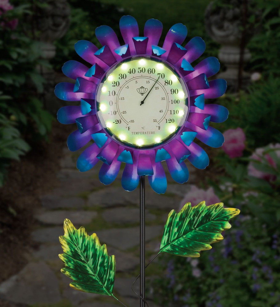 Thermometer Solar Stake - Blue Buttercup