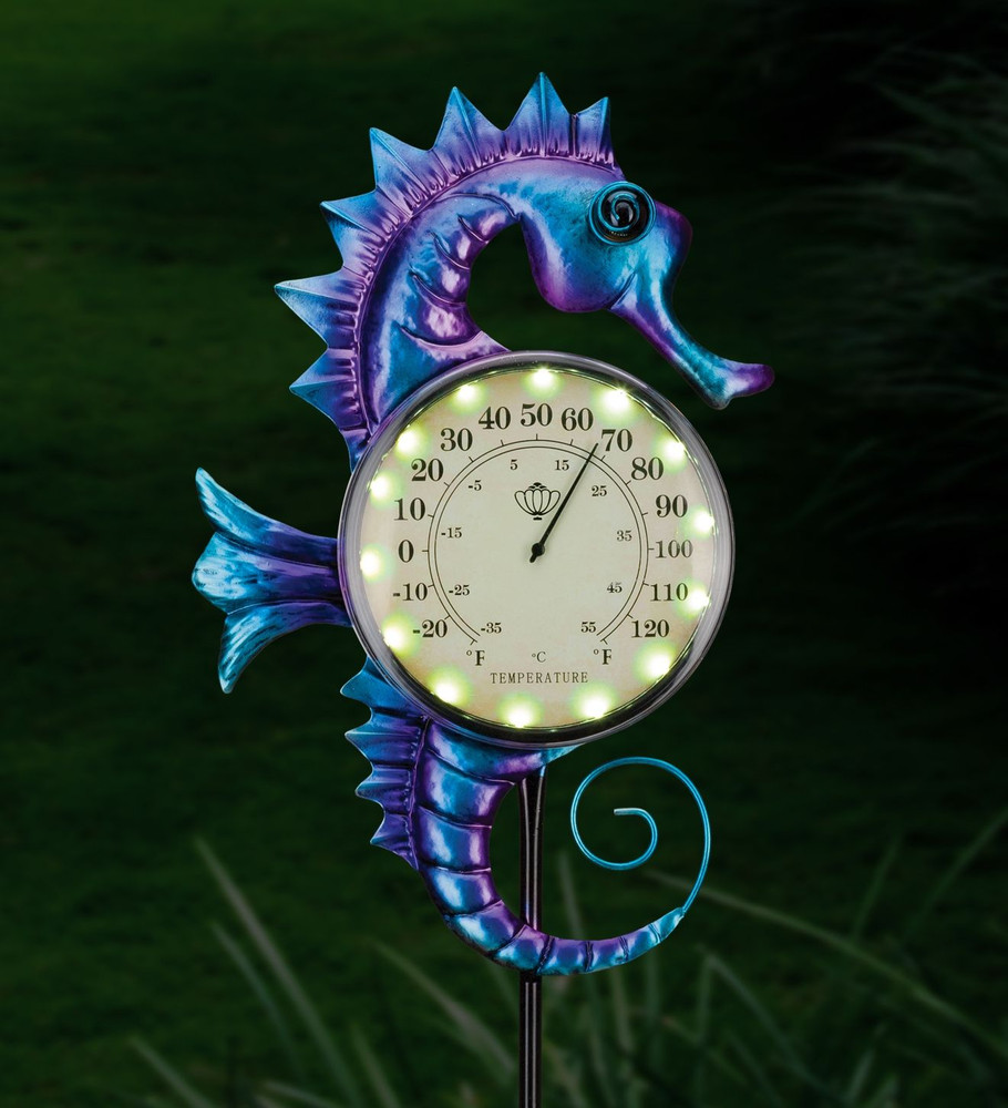 Thermometer Solar Stake - Sea Horse