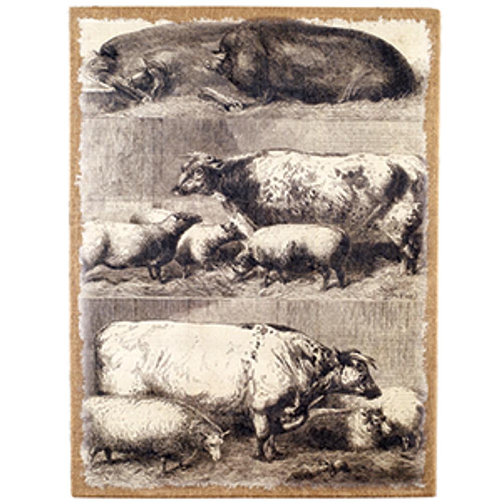 Farm Animals Burlap Print