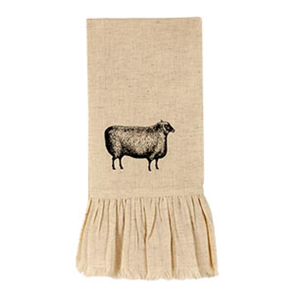 Ruffled Flax Fringed Dish Towel - Sheep