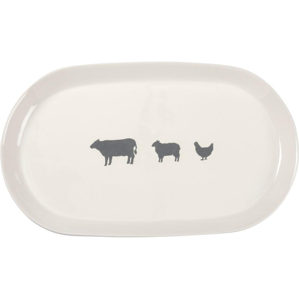 oval stoneware serving platter