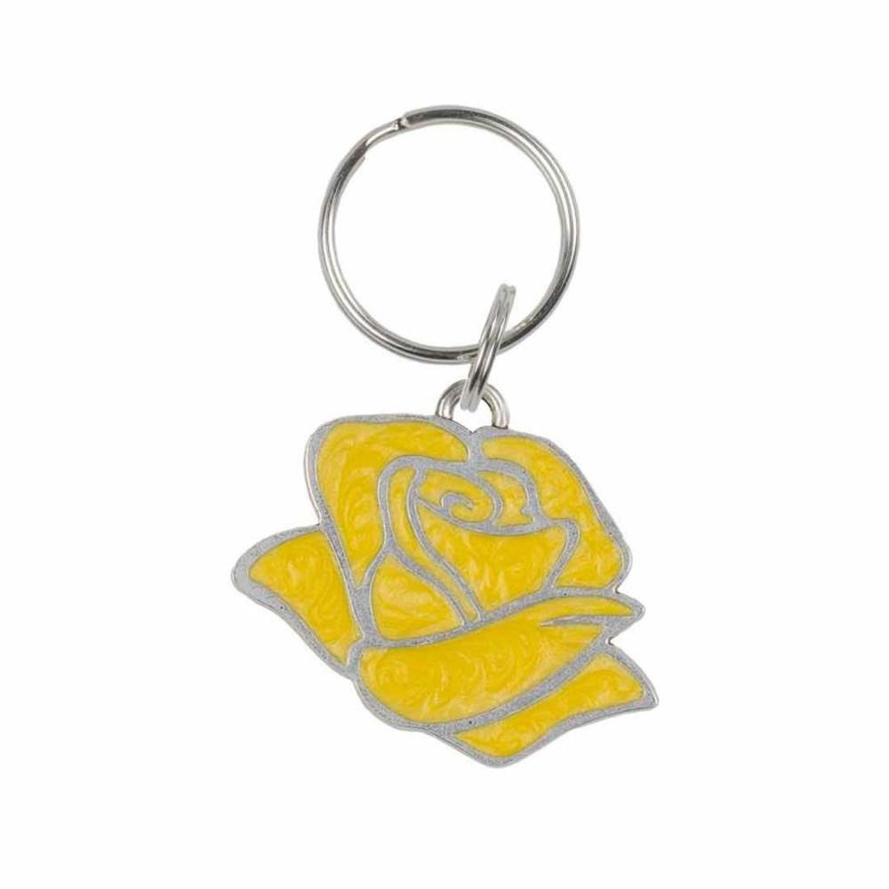 Yellow Rose Pewter Key Ring