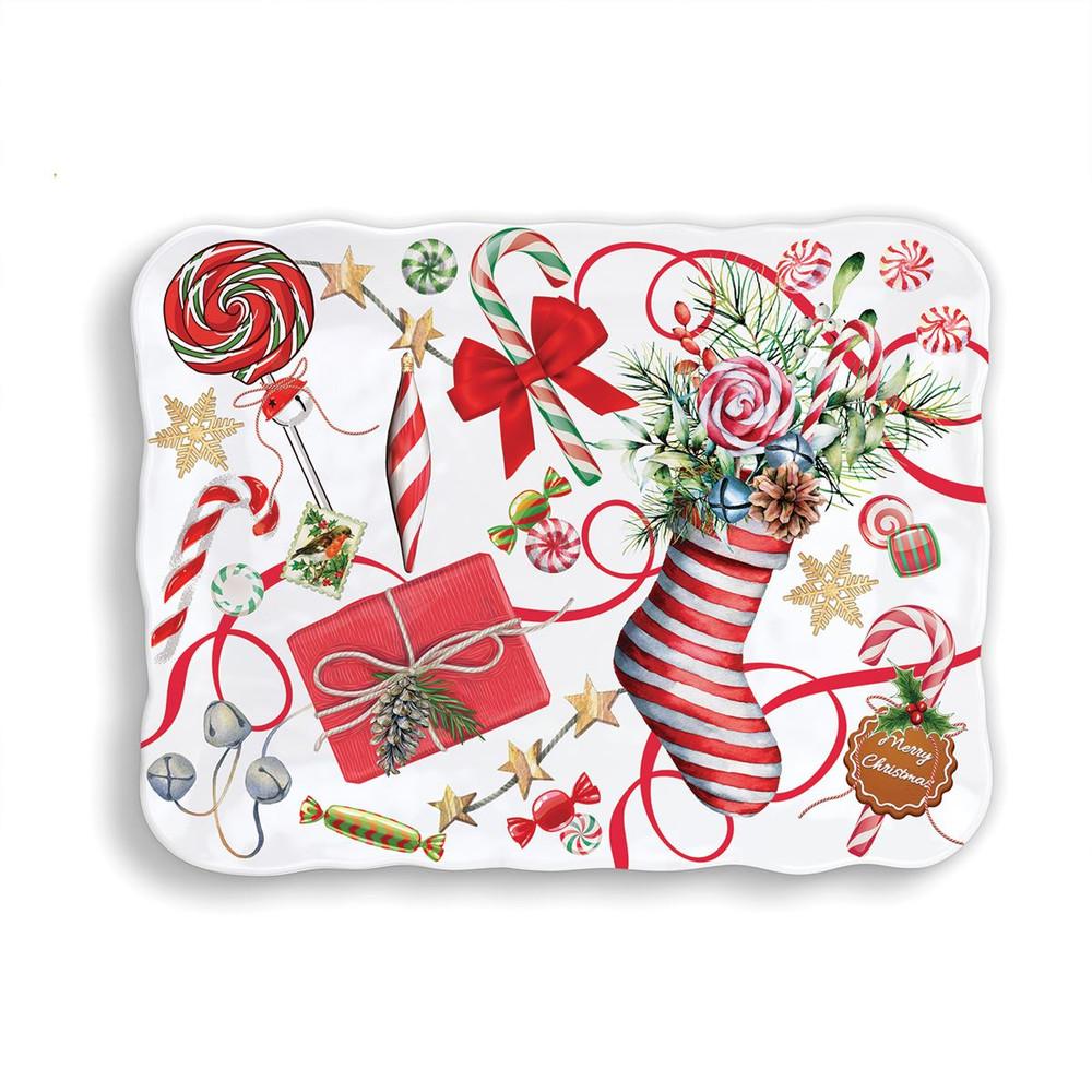 Peppermint Melamine Serveware Cookie Tray