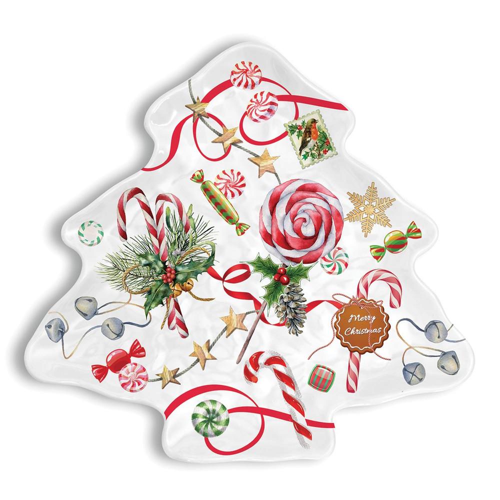 Peppermint Melamine Serveware Christmas Tree Plate