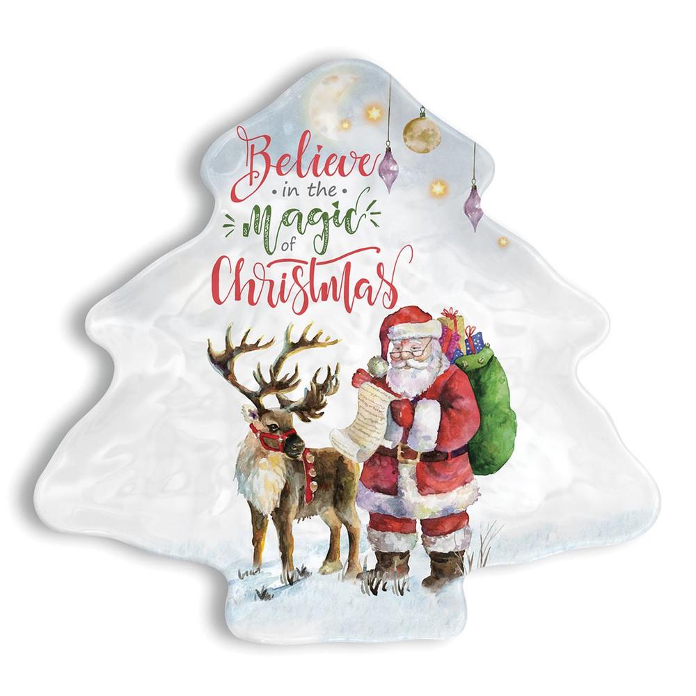 Believe Melamine Serveware Christmas Tree Plate