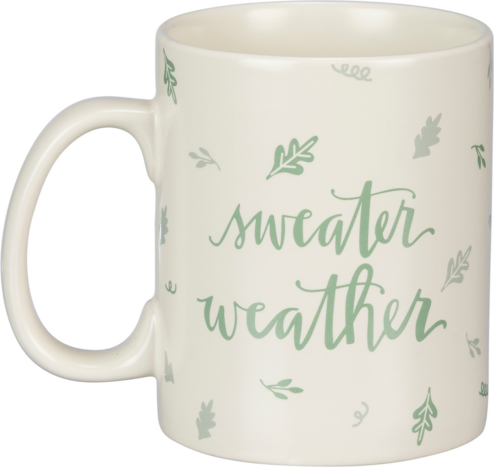Front view of sweater weather coffee mug